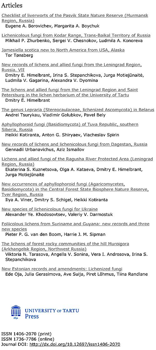 8a758c8d26d Folia Cryptogamica Estonica 53 (2016)